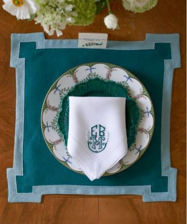 Donald Applique Placemat Langston Embroidery Dinner Napkin